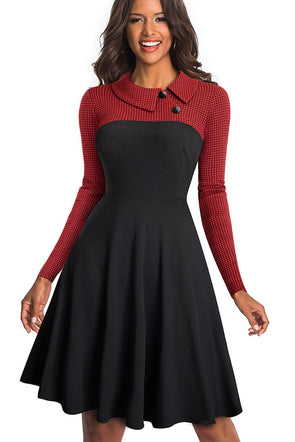 Red Vintage Turn-Down Collar Pinup Button A-Line Dress