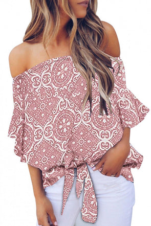 Pink Bohemian Floral Print Off The Shoulder Blouse