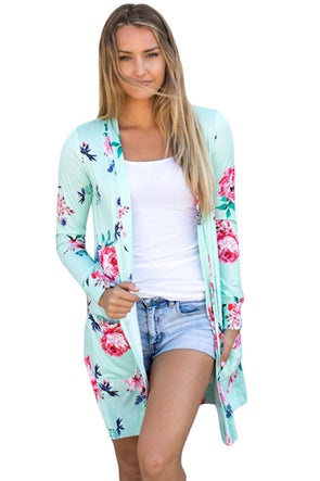 Mint Long Sleeve Floral Cardigan Coat