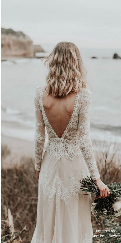 Long Sleeves Vintage Lace Wedding Dress 2020 High Neck Open Back Chic Beach Bohemian Wedding Gowns