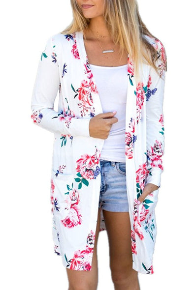 White Long Sleeve Floral Cardigan Coat