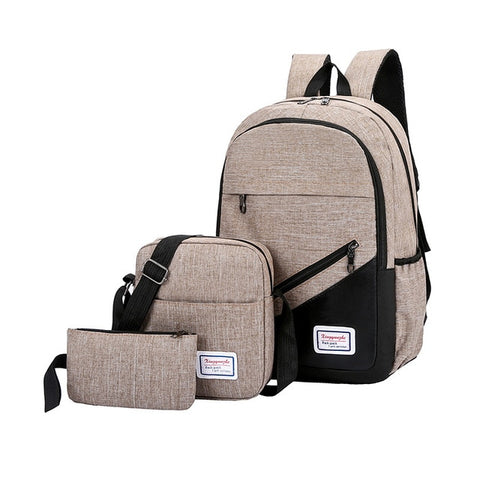 New 3 Pc/set Anti Theft Backpack Men Women Casual Backpack Laptop