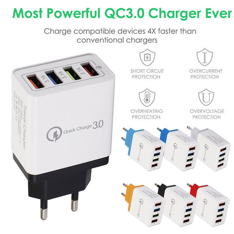 4 Port Quick Charge 3.0 USB Hub Wall Charger 3.5A for cell phone iPhone Samsung Xiaomi Huawei