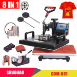 8 in 1 Combo Heat press MachinePrinter 2D Heat Transfer Machine for Cap Mug Plate Tshirts CE Approved