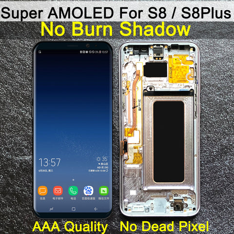SUPER AMOLED S8 LCD with frame for SAMSUNG Galaxy S8 G950 G950F Display S8 Plus G955 G955F Touch Screen Digitizer