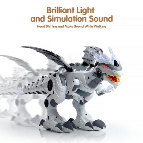 Electric Toy Large Format Walking Spray Dinosaur Robot With Light Sound