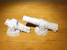 Load image into Gallery viewer, Sci-Fi Turrets 28mm 32mm - Four (4) Pack - Great for Infinity, Star Wars Legion, Warhammer 40k - Requires Glue and Paint