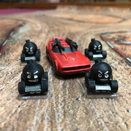 Gaslands RC Car Bomb Miniatures with Bases - Set of 4  - Goofy Looking