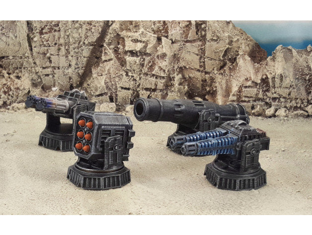 Sci-Fi Turrets 28mm 32mm - Four (4) Pack - Great for Infinity, Star Wars Legion, Warhammer 40k - Requires Glue and Paint