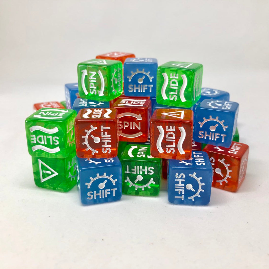 Gaslands Skid Dice Shift / Slide / Hazard / Skid Dice 16mm for Wargaming