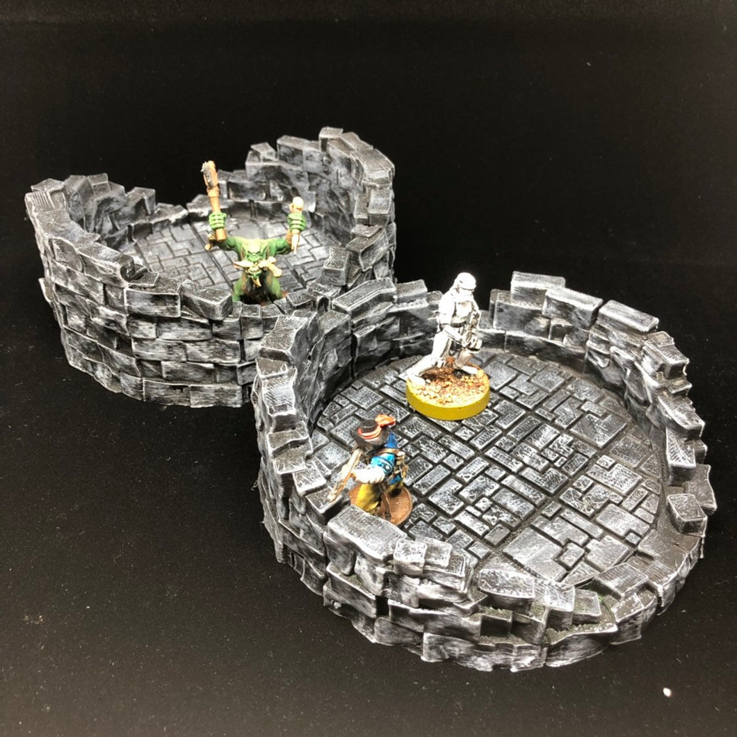 OpenLOCK Round Tower Ruins Starter Set in TileStone design - 28mm / 32mm Wargame Terrain - designed by sablebadger