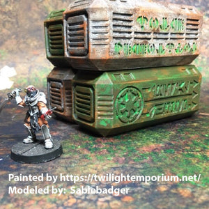 Sci-Fi Shipping Containers 28mm / 32mm - Set of 7 - Great for Star Wars Legion / Warhammer 40k