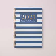 Load image into Gallery viewer, Social Media Content Planner and 2021 Diary A4 Hardback, Blue Stripe