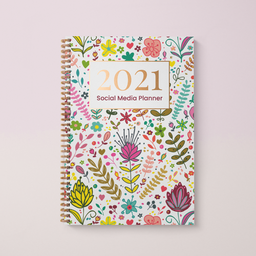 Social Media Content Planner and 2021 Diary A4 Hardback, Colourful Florals