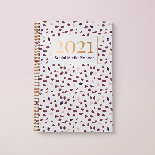 Social Media Content Planner and 2021 Diary A4 Hardback, Polka Spot