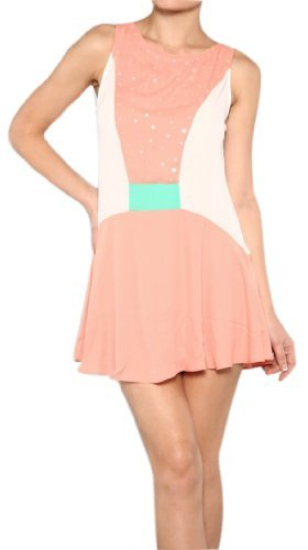 Peach Couture Adorable Sparkle Sequin Chiffon Sleeveless Mini Flared Sundress
