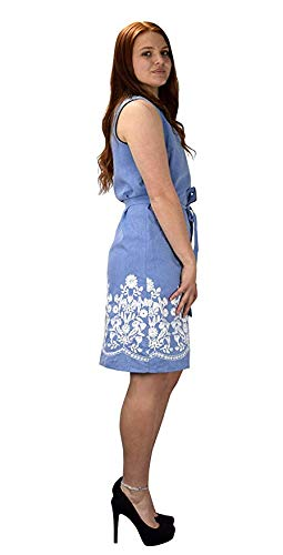 Button Up Dainty Floral Embroidered Chambray Dress