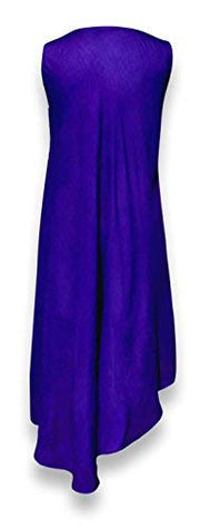 Flowing Colorful Embroidered Sequin Cover Up Handkerchief Dress (One Size, Plum Colorful)