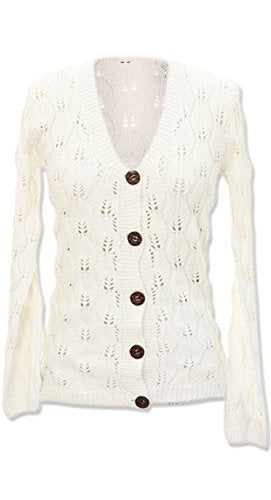 Peach Couture Warm Adorable Leaf Pattern Classic Knit Cardigan w/Large Buttons