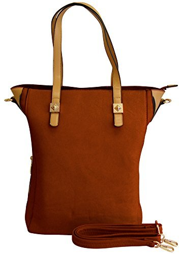 A1658-OLIVIA-Large-Zipper-Tote-Brown-KL
