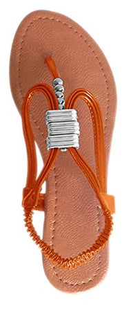 Peach Couture Lana Beaded Thong Sandal w/Closed Back