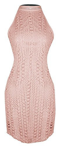 Fun Elegant Moments Lined Summer Halter Crochet Cocktail Mini Lace Dress