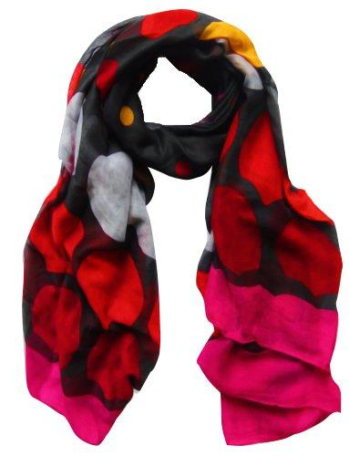 Black/Fuchsia Peach Couture Playful Modern Multicolored Polka Dot Scarf wrap shawl