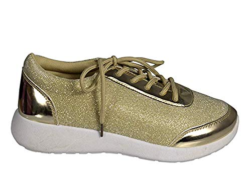 Women's Sparkling Glitter Lace Up Platform Elastic Sneakers