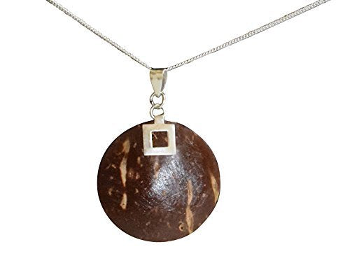 Peach Couture Natural Dark Brown Coconut Wood and Sterling Silver Pendant