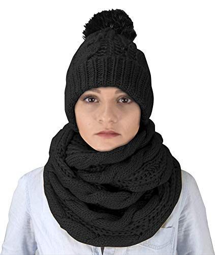 Cable Knit 2 Pair Faux Fur Beanie Hat and Infinity Loop Scarf Set