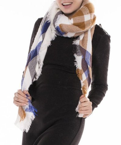 Warm Tartan Plaid Woven Oversized Fringe Scarf Blanket Shawl Wrap