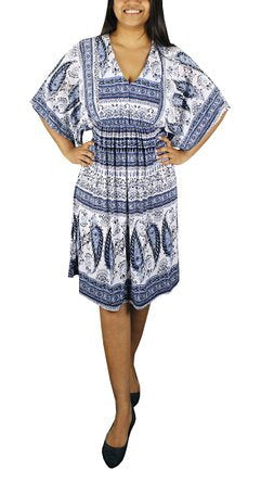 Womens Vintage Boho Casual Summer Paisley Batwing Blue Midi Dress