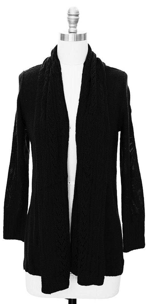 Vintage Knit Draped Cardigan (Medium, Black)