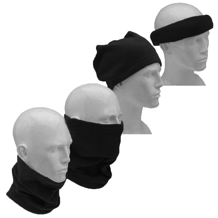 Thick Knit One Hole Facemask Balaclava Snowboarding Biker Mask (2 Black)