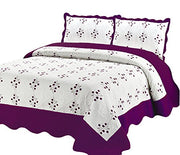 Couture Home Collection Super Fine Luxury White Floral & Hearts Print Design Embroidered Reversible Quilt Set - 100% Cotton Fill