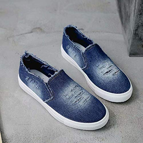 Girls Fashion Distressed Denim Rhinestone Embellished Casual Shoes Slip On Sneakers