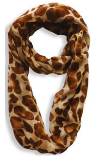 Women's Retro Fashion Two Tone Animal Print Infinity Loop Scarf
