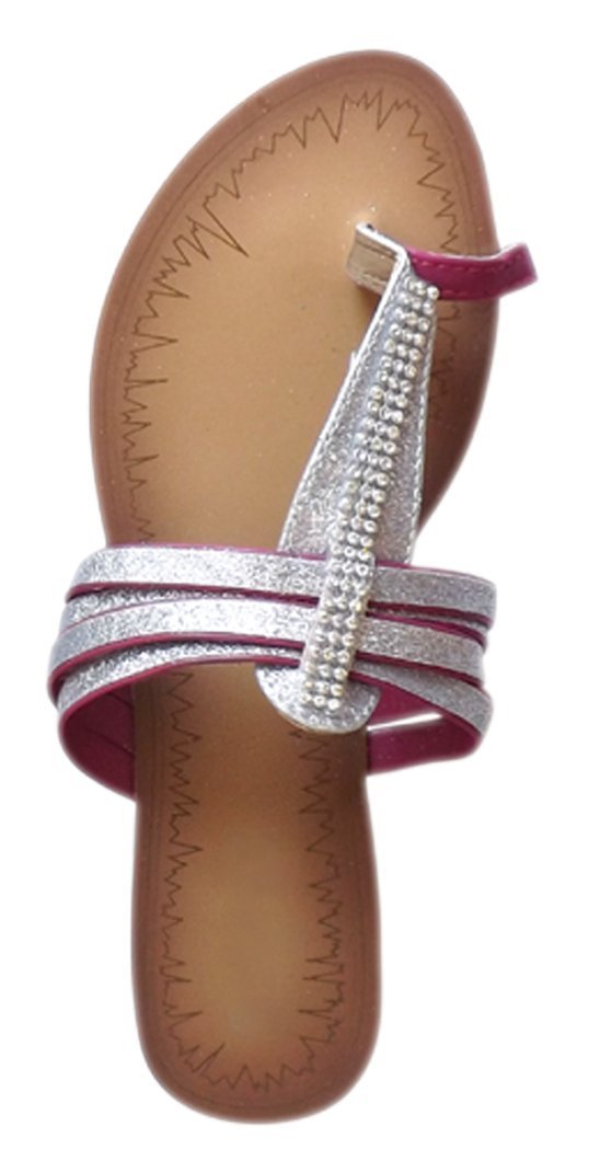 Womens Rhinestone Sparkle Toe Ring Thong Flat Open Back Sandals