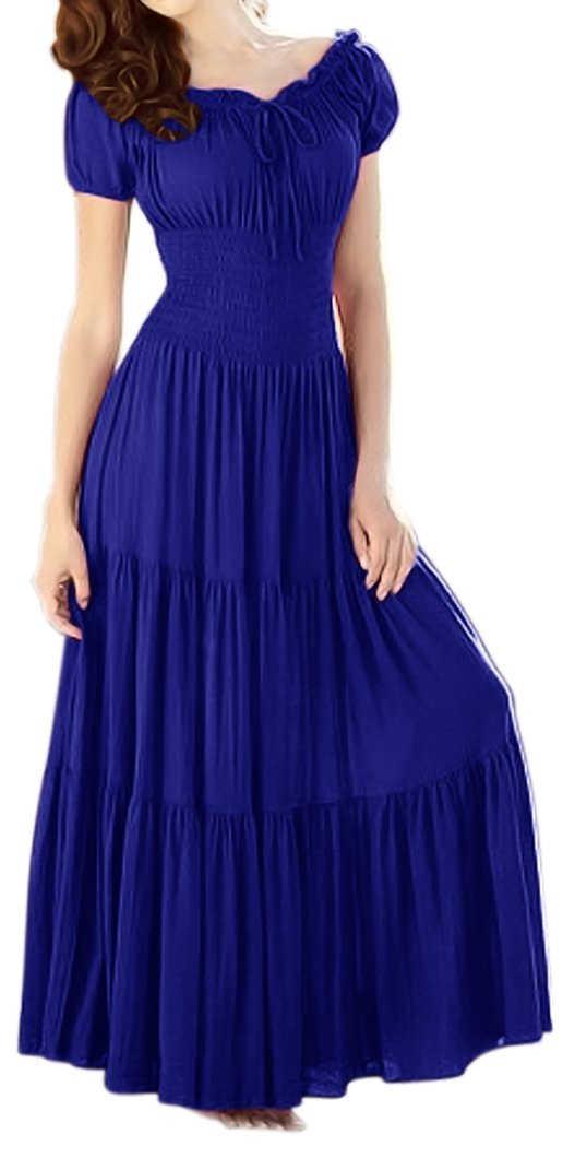 A2622-Smock-Maxi-Dress-Blu-Lar-KL