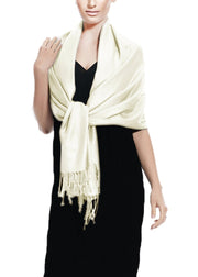 Soft Silky Rayon Pashmina Shawl Wrap Scarf in Solid Color (Off White)