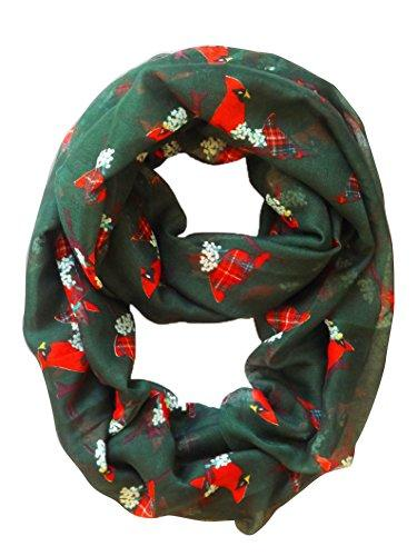 Hunter Green Peach Couture Beautiful Vintage Two Colored Bird Print Infinity Loop Scarf Scarves