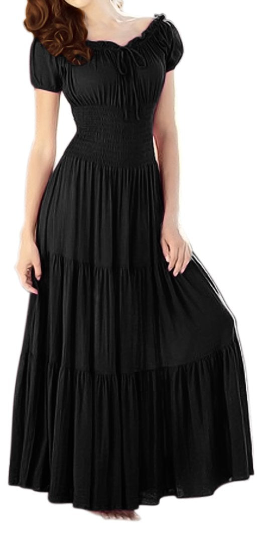 Peach Couture Gypsy Boho Cap Sleeves Smocked Waist Tiered Renaissance Maxi Dress Black, XL