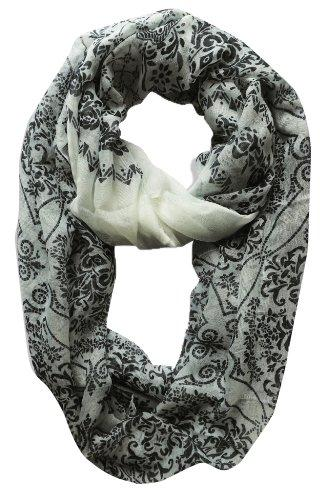 White Peach Couture Womens Boho Floral Paisley Sheer Infinity Scarf Loop Circle Scarf