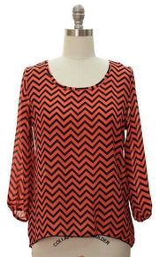 Womens Charming Chevron Scoop Neck Long Sleeves Blouse