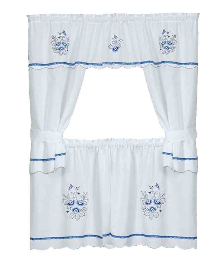 Peach Couture Embellished Dainty Blue & White Flower Window in a Bag Set