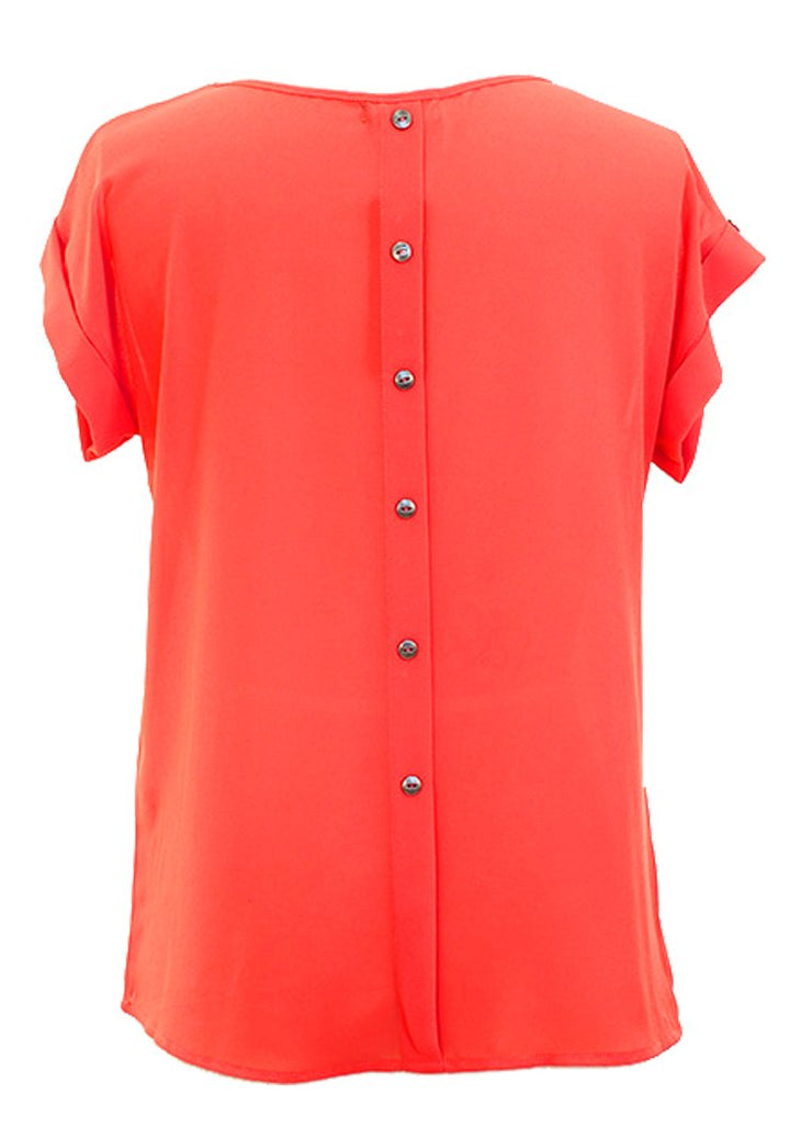 Peach Couture Chiffon Scoop Neck Back Button Down Top w/Patch Pocket