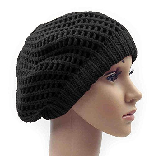 Winter Warm Double Layer Crochet Knit Beret Beanie Slouchy Hat