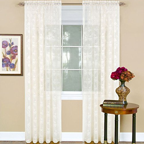 Peach Couture Jacquard Curtain Panel with Beautiful Fleur De Lis De