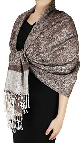 Peach Couture Elegant Vintage Two Color Jacquard Paisley Pashmina Shawl Wrap