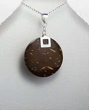 Natural Dark Brown Coconut Wood and Sterling Silver Pendant